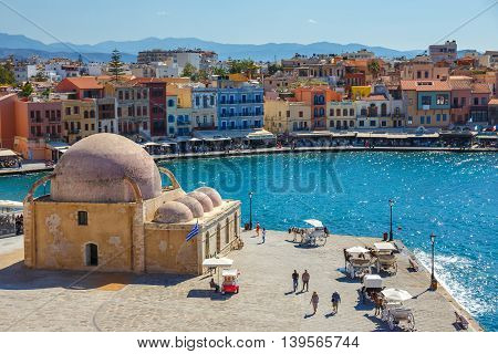 Chania, Crete - 25 Maj, 2016: Aerial View Of The Old Port In Chania, Greece. Chania Is The Second La