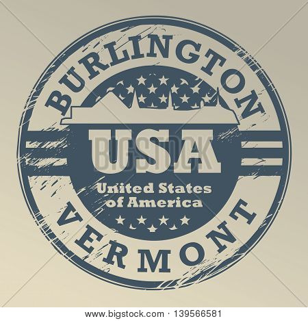 Grunge rubber stamp with name of Vermont, Burlington, vector illustration