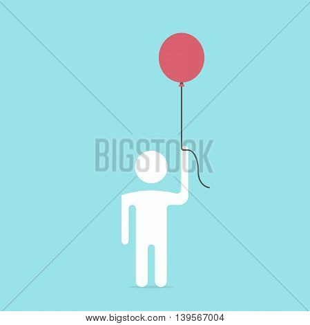 White man flying with a red balloon on blue background. Business and freedom concept. Flat design. Vector illustration. EPS 8 no transparency