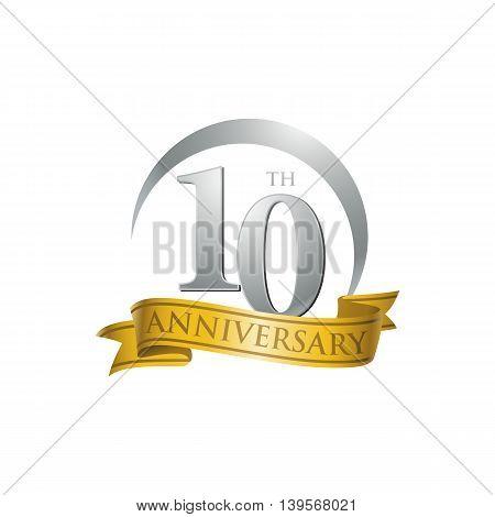 10th anniversary gold logo template. Creative design. Business success