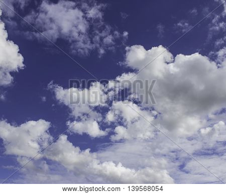 White Clouds On A Blue In The Afternoon.