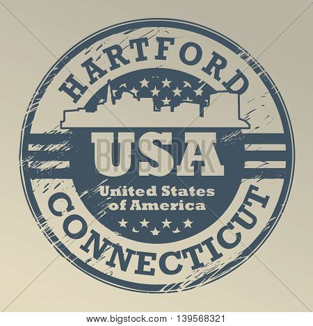 Grunge rubber stamp with name of Connecticut, Hartford, vector illustration