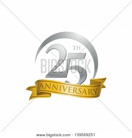 25th anniversary gold logo template. Creative design. Business success