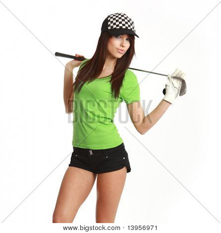 Golf Player Woman. studio isolated shot