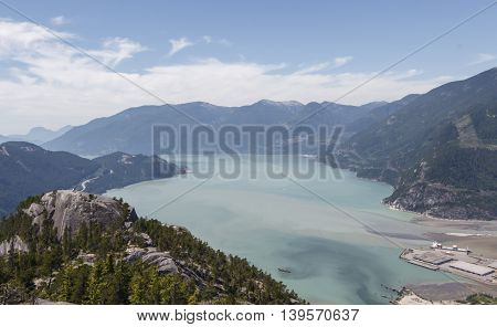 A view of Howe Sound, taken fro the Stawamus Chief in BC, Canada