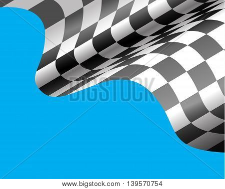 Checkered flag flying on blue design for race sport background vector illustration.