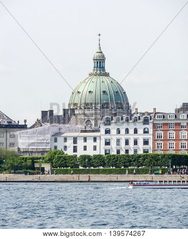 waterside scenery with Frederiks church in Copenhagen the capital city of Denmark