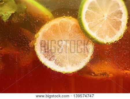 Fresh mojito cocktail close up extreme macro texture
