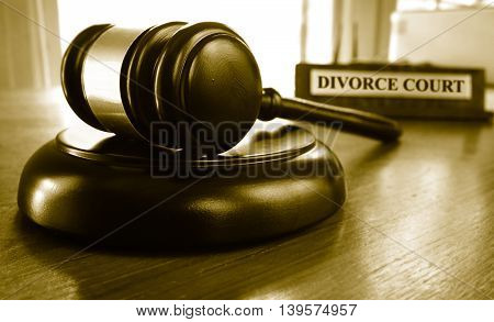 Judge gavel with a Divorce Court placard