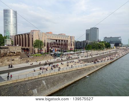 waterside scenery in Cologne a city in North Rhine-Westphalia in Germany