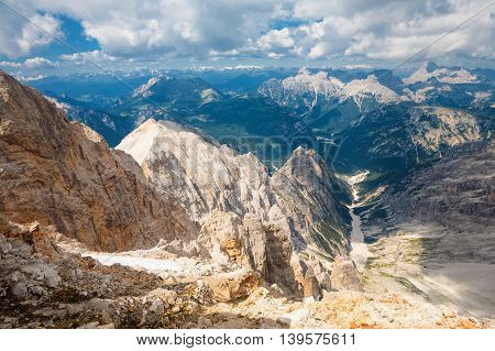 On the top of the Bianca peak in the Monte Cristallo MAssif Dolimtes Italy