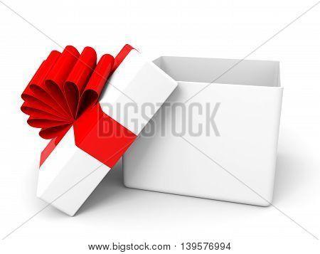 Open christmas gift box on white background. 3D illustration.