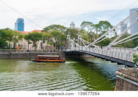 Cavenagh Bridge In Singapore