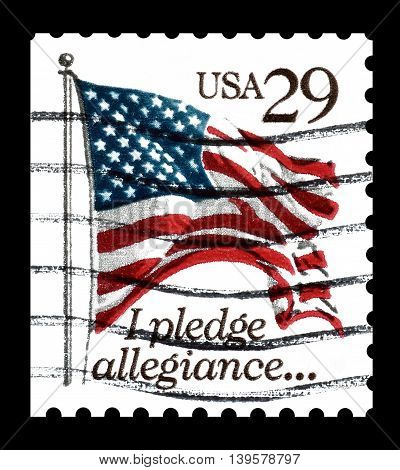USA - CIRCA 1994 : Cancelled postage stamp printed by USA, that shows flag.