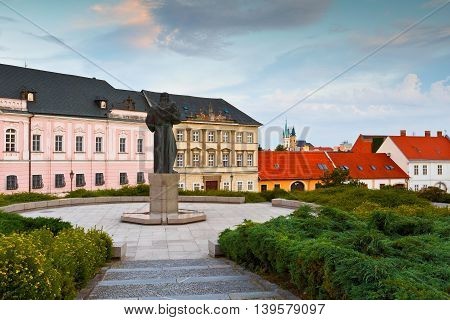 NITRA, SLOVAKIA - JULY 02, 2016: Statue of Pribina in the old town of Nitra, Slovakia on July 02, 2016.