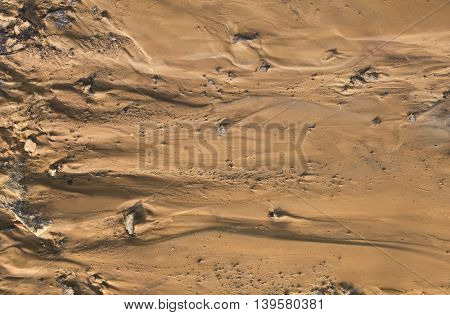 Fictional Mars Soil Aerial View. Trace of Water on Mars