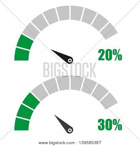 Set of speedometer or rating meter signs infographic gauge element with percent 20 30