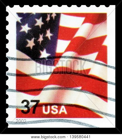 USA - CIRCA 2002 : Cancelled postage stamp printed by USA, that shows flag.