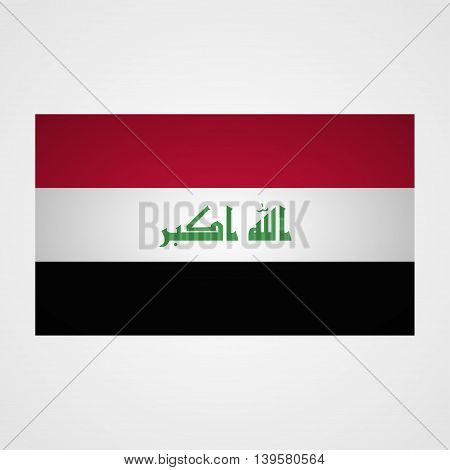 Iraq flag on a gray background. Vector illustration