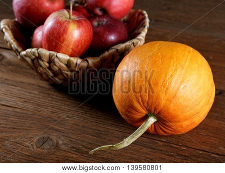 Autumn Still Life With Apples And Pumpkins