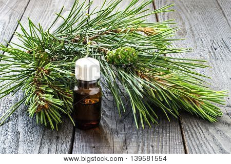 Pine essential oil in the small brown pharmaceutical vial and pine branches (Pinus silvestris) with green cones on dark wooden table