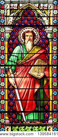 MEZE, FRANCE -July 23, 2014: Apostle. Stained glass window in the Cathedral of Meze South of France