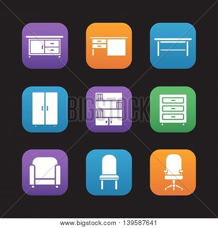Furniture items flat design icons set. Kitchen counter, desk, classic wooden table and wardrobe. Bookcase, dresser, armchair and computer chair. Web application interface. Vector