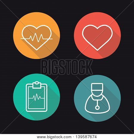 Cardiology flat linear long shadow icons set. Heart pulse analysis, heart, ecg curve and cardiologist. Vector line symbols
