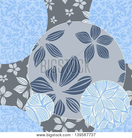 stock vector floral seamless doodle pattern. decorative element.patchwork design