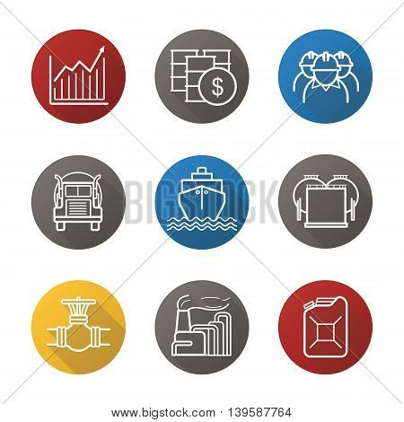 Oil industry flat linear long shadow icons set. Petrol sale. Oil barrels, industry workers, jerrycan, pipeline valve, cargo ship, storage, growth chart, jerrycan. Vector line symbols