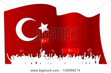 Turkey silhouettes of cheering or protesting crowd of people with Turkish flags and banners and a big waving Turkish flag in the background.