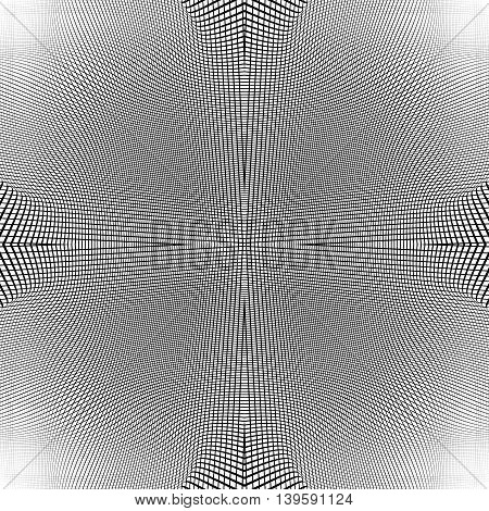 Grid of dynamic lines. Seamlessly repeatable mesh pattern. Distorted warped cellular reticulated background. poster