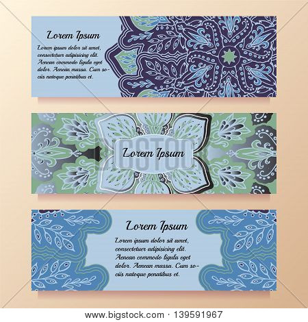 Stock vector template with floral mandalaoriental design for card banner cover layuot.