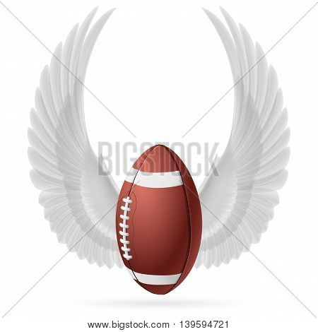 Realistic ball for American football with raised up white wings emblem