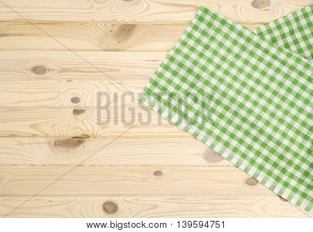 Green checkered tablecloth vor texture or background