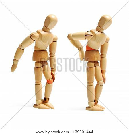 Wooden mannequins having joints ache isolated on white