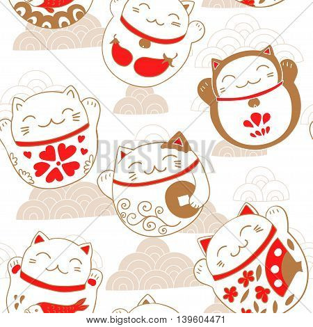 Seamless pattern with cats Maneki-neko, lucky charms. Vector illustration.