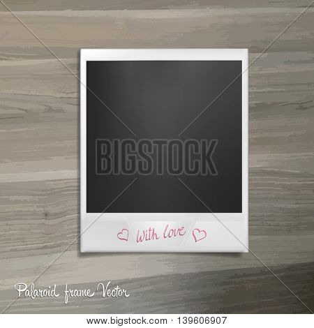 Polaroid frame lies on a wooden table. Photo template with shadow effect. Vector illustration