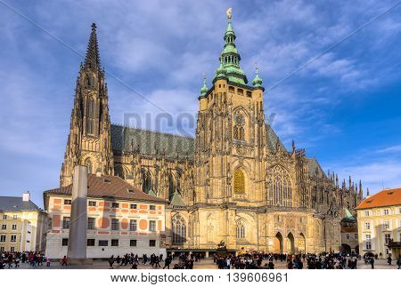 PRAGUE, CZECH REPUBLIC - DECEMBER 26: St. Vitus Cathedral on December 26, 2013 in Prague. St. Vitus is a Roman Catholic cathedral situated in the Prague Castle complex, and the seat of the Archbishop.