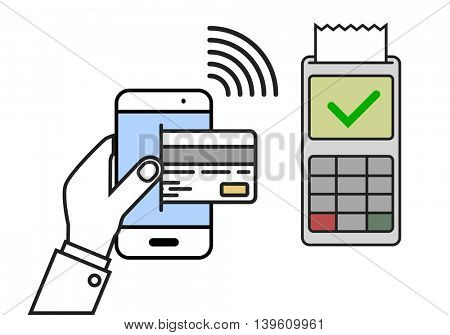 minimalistic illustration of a cellphone next to a pos terminal with accepted payment, mobile payment concept, eps10 vector