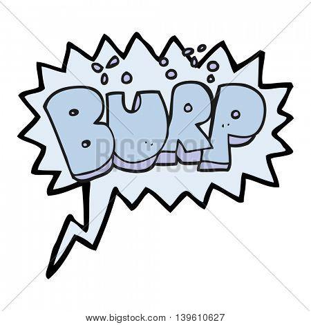 freehand drawn speech bubble cartoon burp text