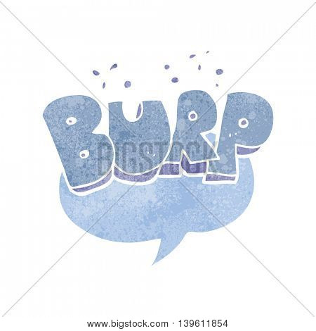 freehand retro cartoon burp symbol poster