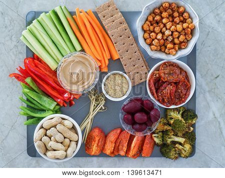 Vegetable vegan Crudites, nuts and Dips/ vegetable platter, healthy eating