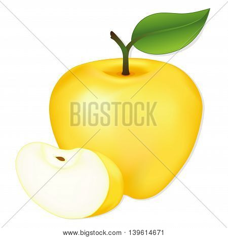 Apple, Golden Delicious, slice, ripe, fresh, natural orchard garden fruit isolated on white background.