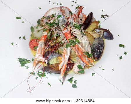 fresh seafood dish with crustaceans and bivalves
