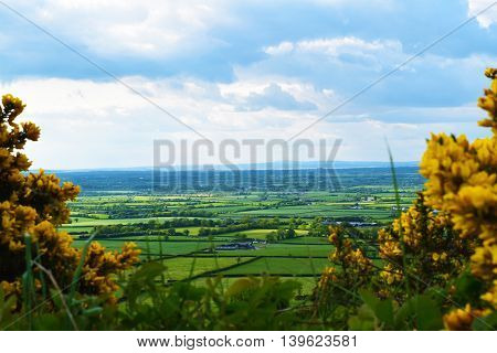 A view of the scenery of rural Ireland from a hilltop