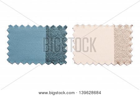 Set Of Sample Pieces Color Fabric Isolated On White