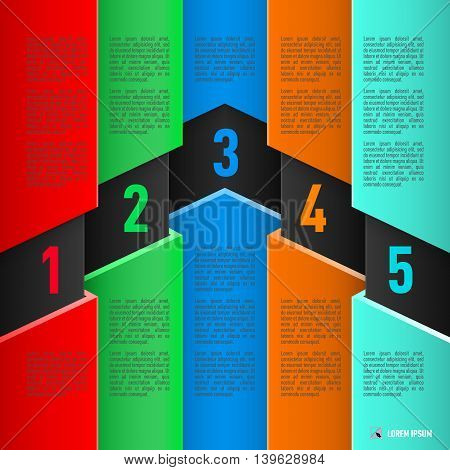 Infographics in paper style with colorful sheets numbered items from one to five