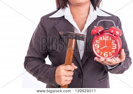 Woman Holding Hammer And Red Alarm Clock Isolated On White. Breaking Time Concept