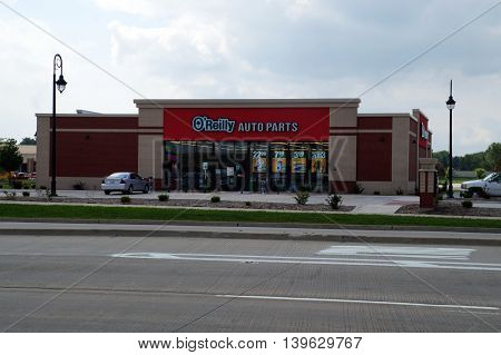 SHOREWOOD, ILLINOIS / UNITED STATES - AUGUST 30, 2015: One may purchase automobile parts at O'Reilly's Auto Parts store in Shorewood.